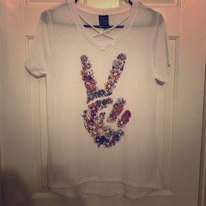 Modern Lux flower peace tee